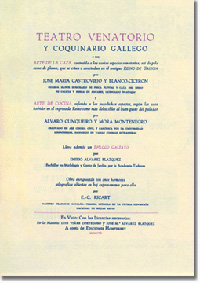 "REEDITAN O ""TEATRO VENATORIO E COQUINARIO GALLEGO"" DE CUNQUEIRO E CASTROVIEJO"